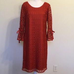 Dress Barn Orange Lace Overlay Dress NWT Size 12